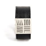 Кожаный слэп-браслет черный
