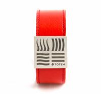 Кожаный слэп-браслет красный