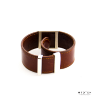 Кожаный серебряный слэп-браслет