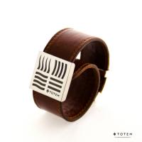 Кожаный слэп-браслет коричневый