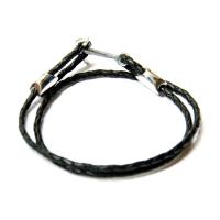 Кожаный серебряный браслет якорь