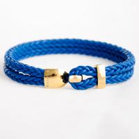 Кожаный плетеный браслет из стерлингового серебра с позолотой