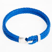 Серебряный браслет на синем кожаном шнуре