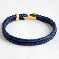 Серебряный браслет на темно-синем кожаном шнуре, покрытие золото