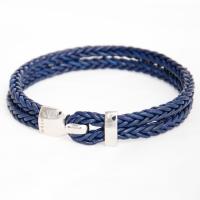 Кожаный плетеный браслет из стерлингового серебра
